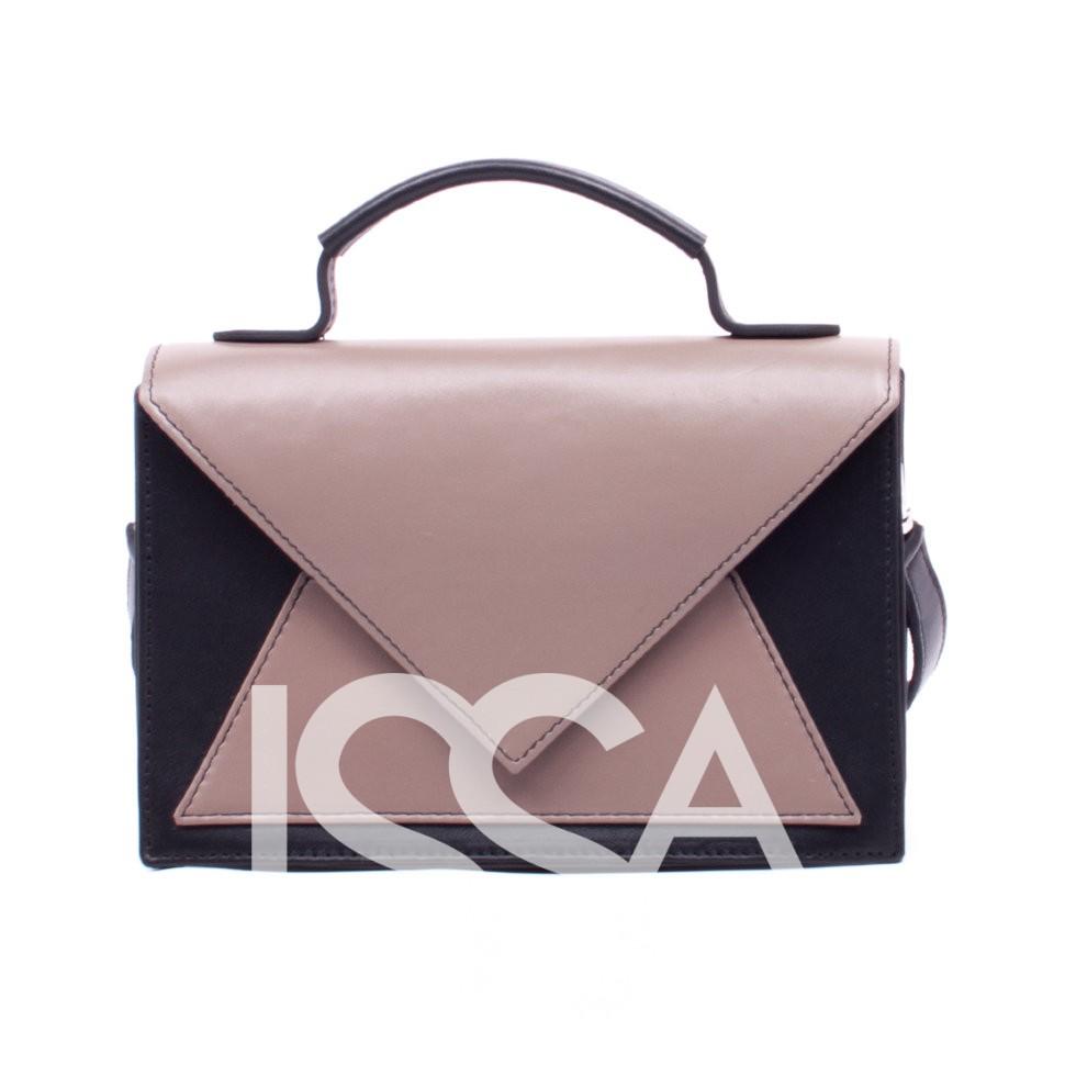 Оригинальная черно-бежевая сумочка из натуральной кожи