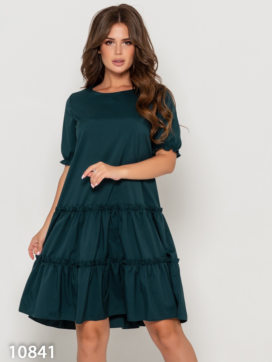 73affc273646134 ISSAPlus|Зеленое свободное платье с воланами-61273 купить недорого ...