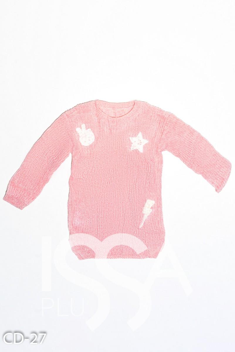 Розовый вязаный свитер с кружевными белыми нашивками