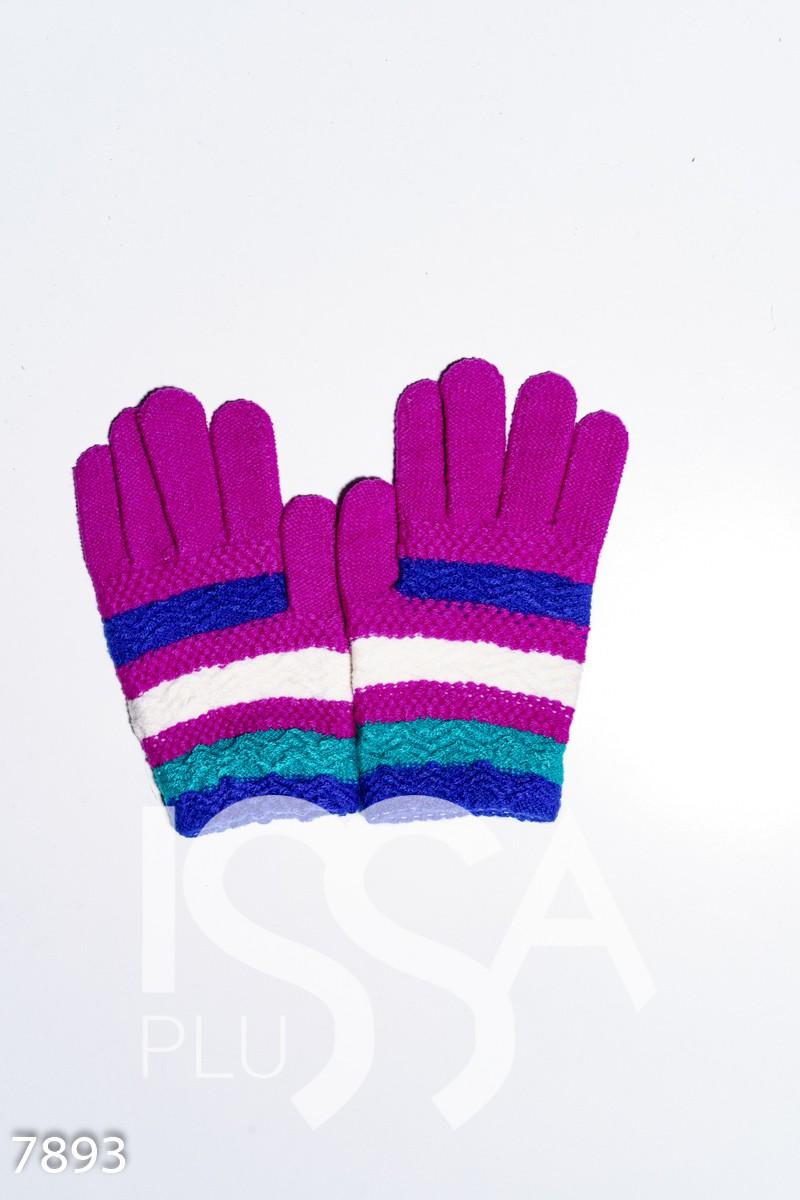 Сиреневые вязаные шерстяные полосатые перчатки