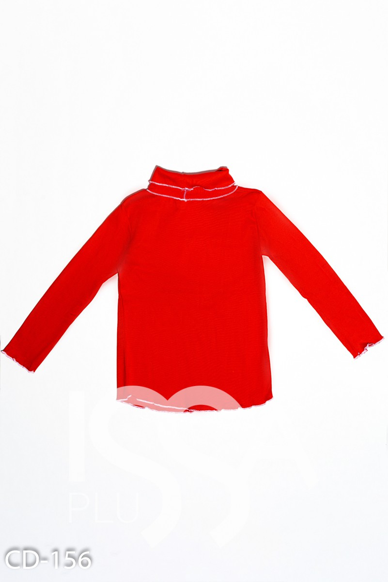 Красный трикотажный однотонный гольф с длинными рукавами