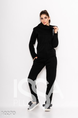 Черный спортивный костюм из трикотажа на флисе с косой молнией и  принтованными тесемками 95f8693df6a