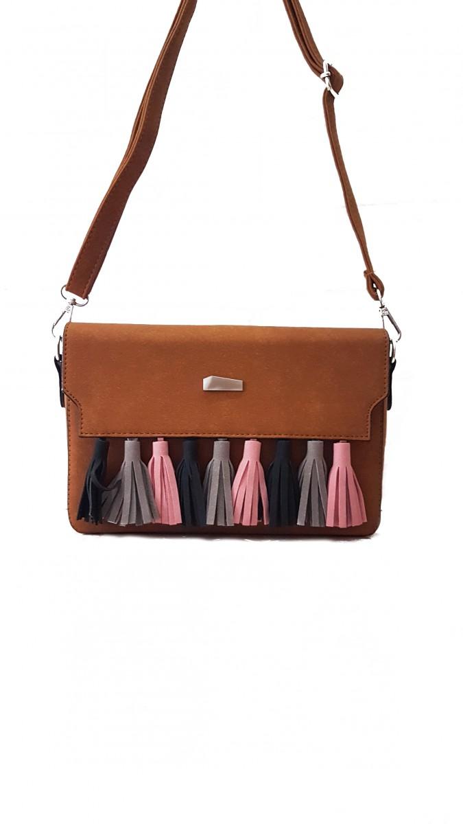 Коричневая женская сумочка-клатч с цветными кистями