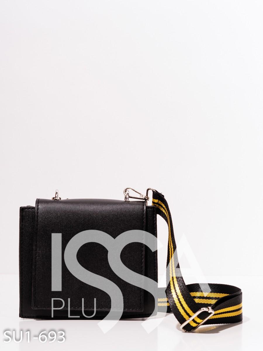 Черная квадратная сумка с белыми вставками