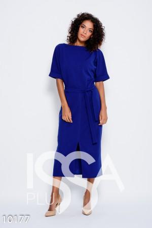 Синее платье с пояском и с цельнокроенными рукавами, декорированными  отворотами и разрезом спереди 63a7306a28b