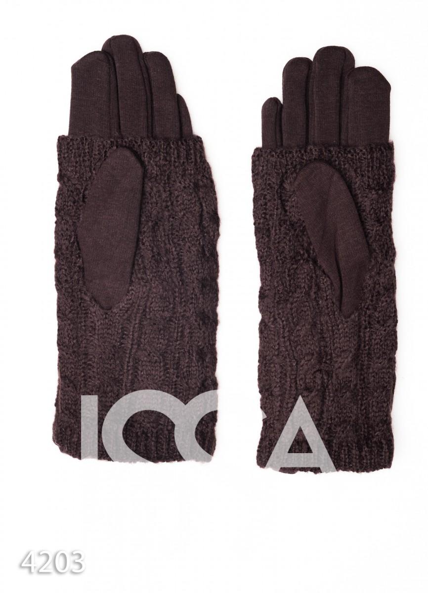 Темно-коричневые перчатки-митенки с