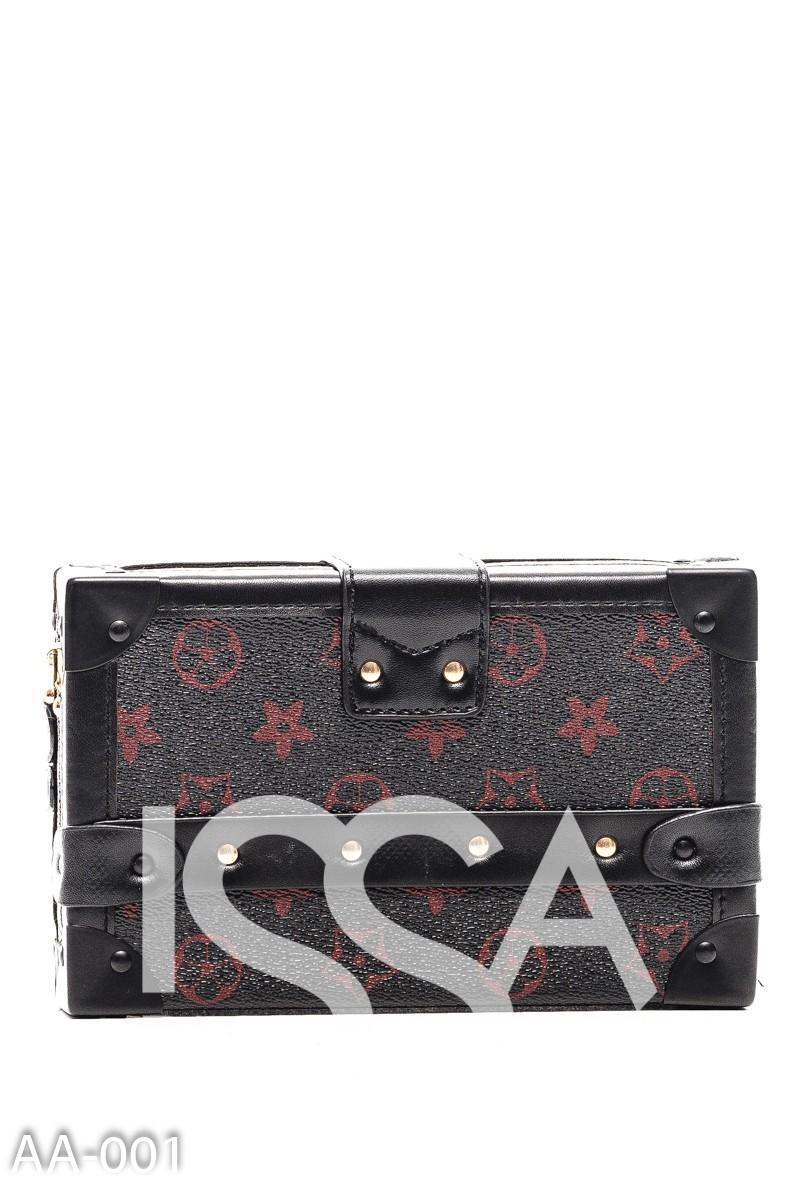 Черная сумочка-сундучок с красными узорами