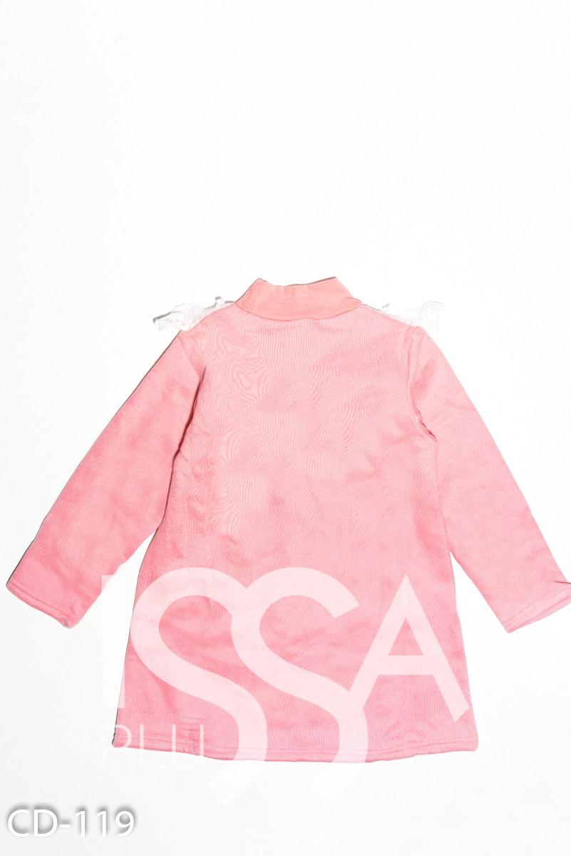 Розовая утепленная толстовка с кружевом на груди