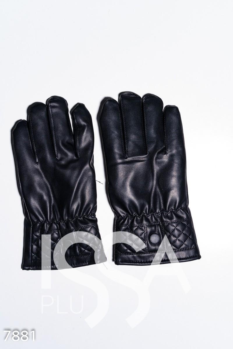 Черные перчатки из эко-кожи со стеганными манжетами