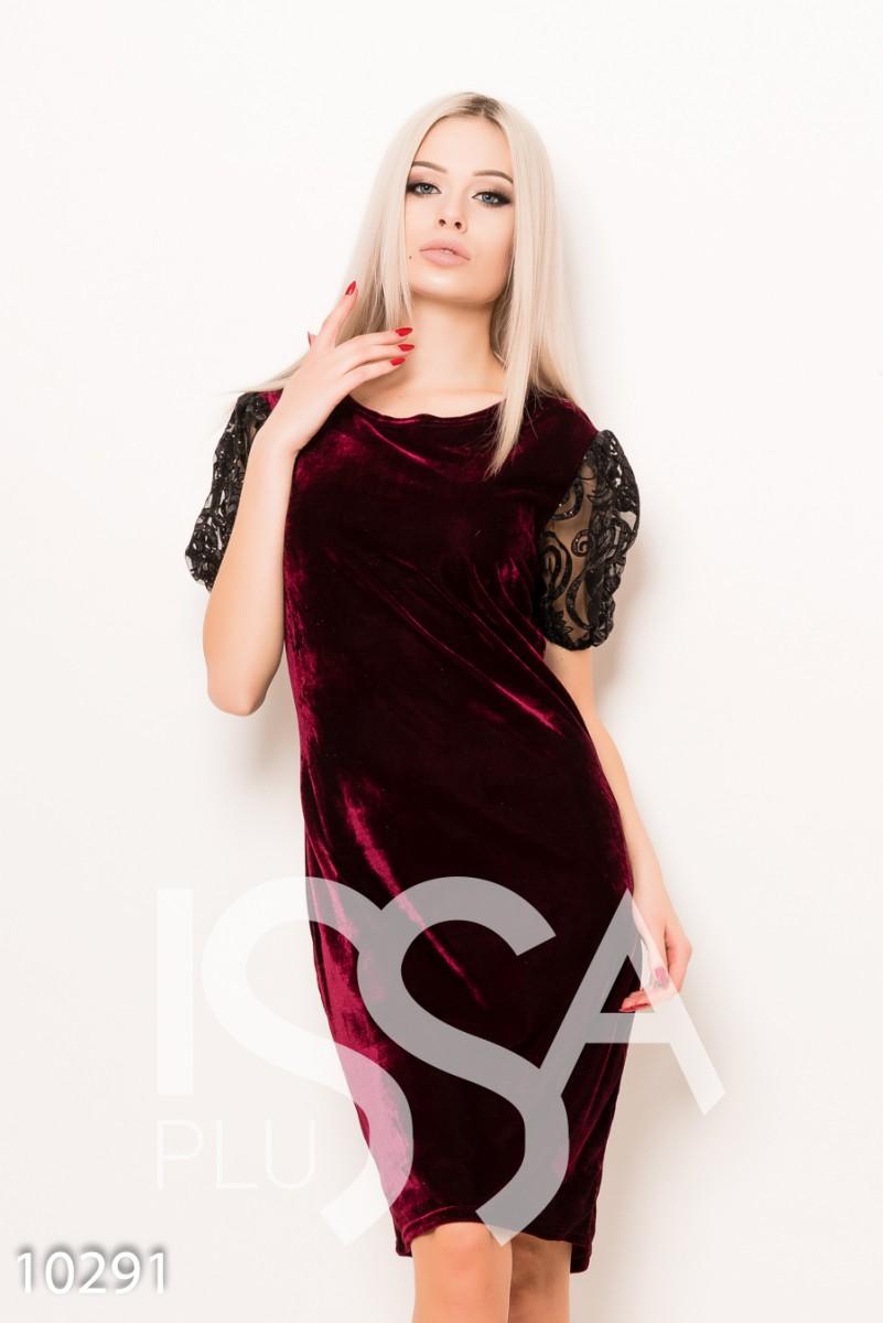 Бордовое велюровое платье с сетчатыми блестящими рукавами-фонариками