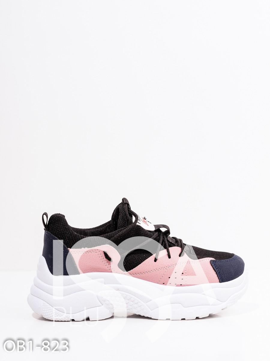 Черно-розовые кроссовки с перфорацией и платформой