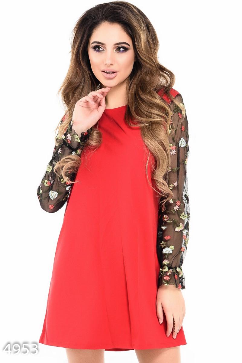 fafc12cea1a Красное платье прямого покроя с черными рукавами из сетки с вышивкой  358  грн. фото ...