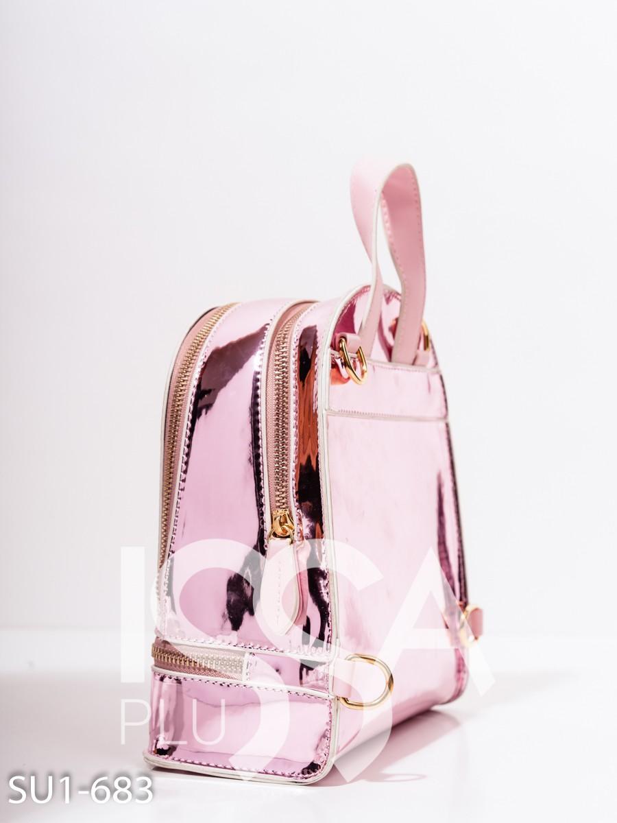 Розовый блестящий каркасный рюкзак