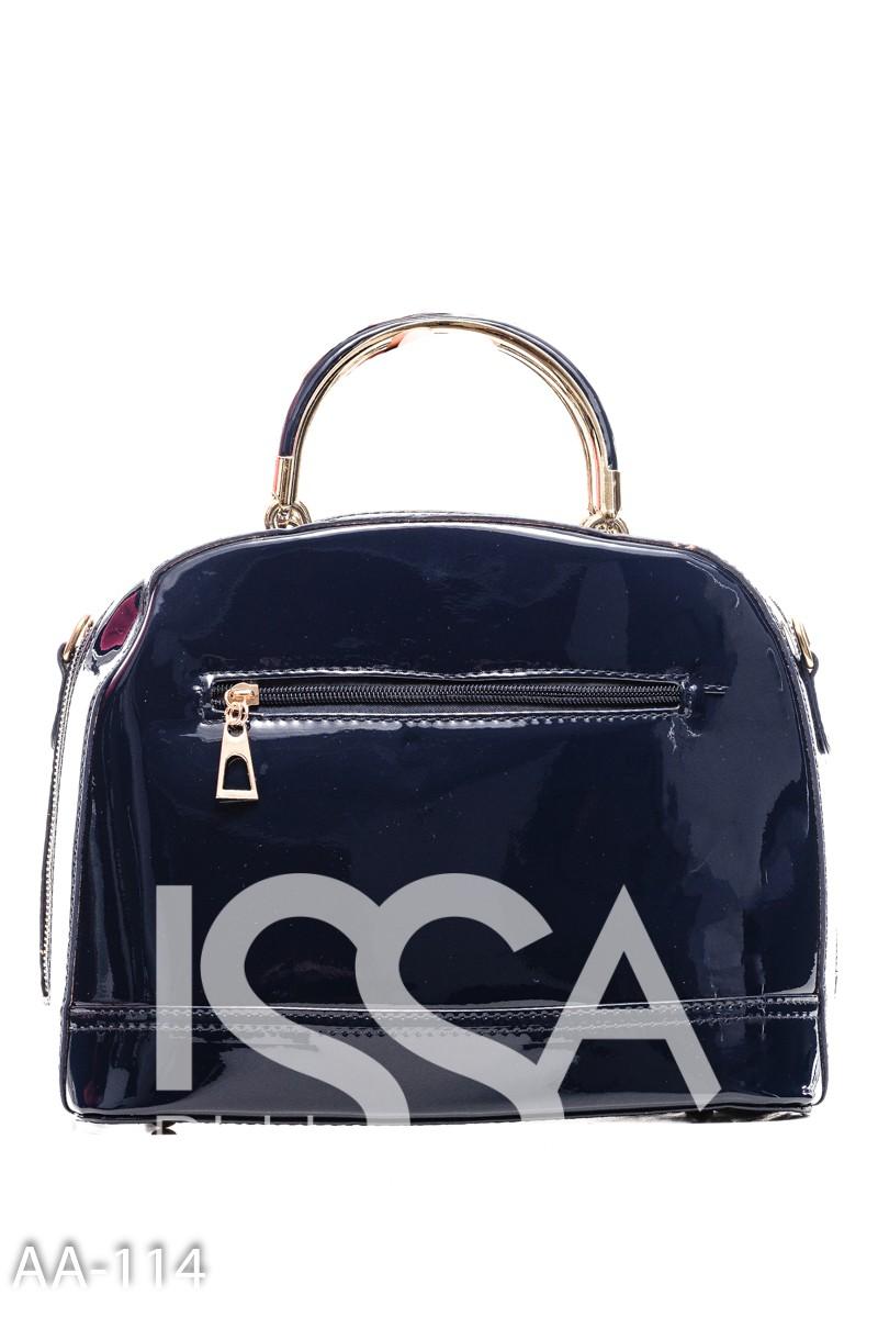 Темно-синяя жесткая сумочка из лаковой эко-кожи