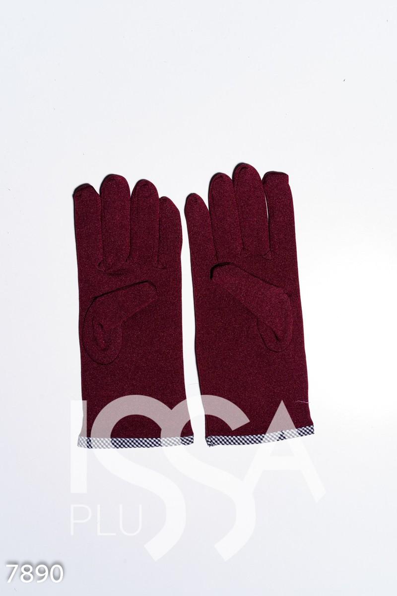 Бордовые эластичные тонкие перчатки на флисе с помпоном