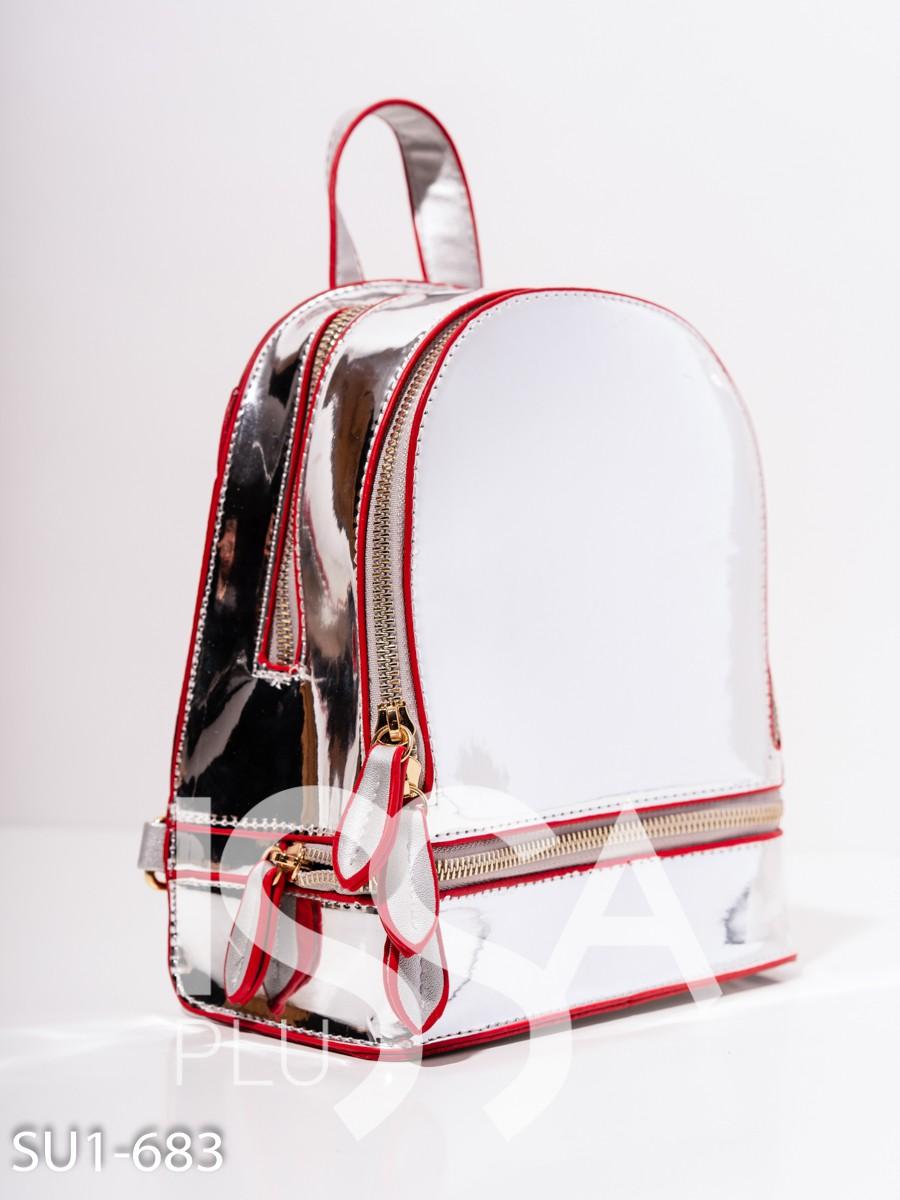 Серебристый блестящий каркасный рюкзак
