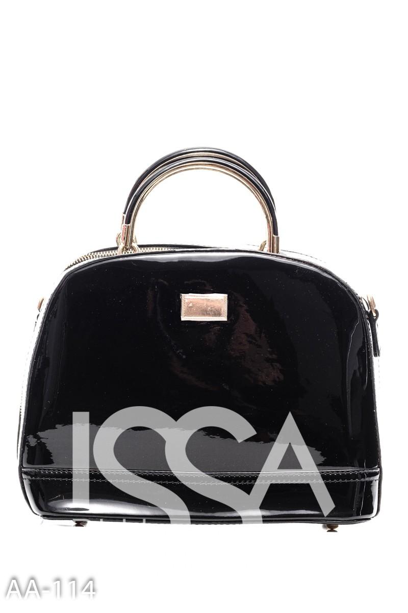 Черная жесткая сумочка из лаковой эко-кожи