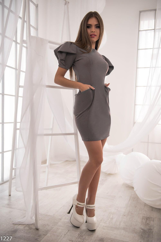 Платье серое-мини
