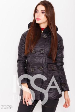 432f01676299 Черная стеганая куртка на молнии с клапаном и шерстяным воротником на меху