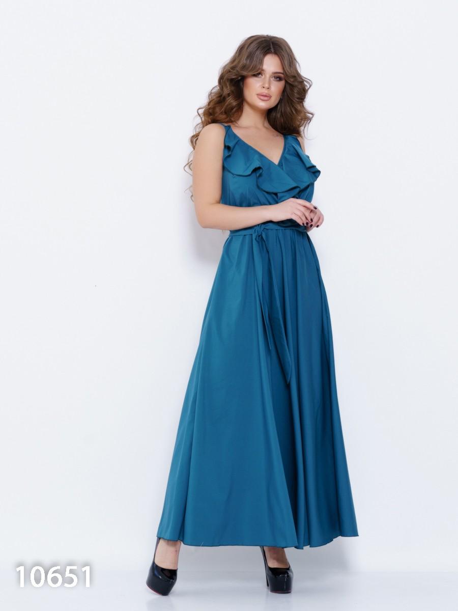 8c26c00824e Зеленое длинное платье с бретельками и воланами  504 грн. фото 2 ...
