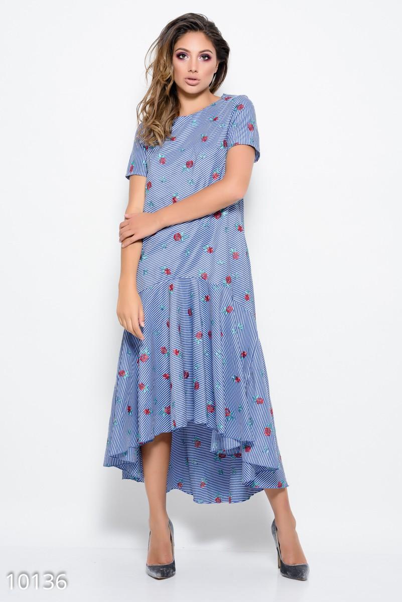 ba06f75f217 Бело-синее платье в полоску из коттона с асимметричной юбкой и вышивкой   394 грн ...