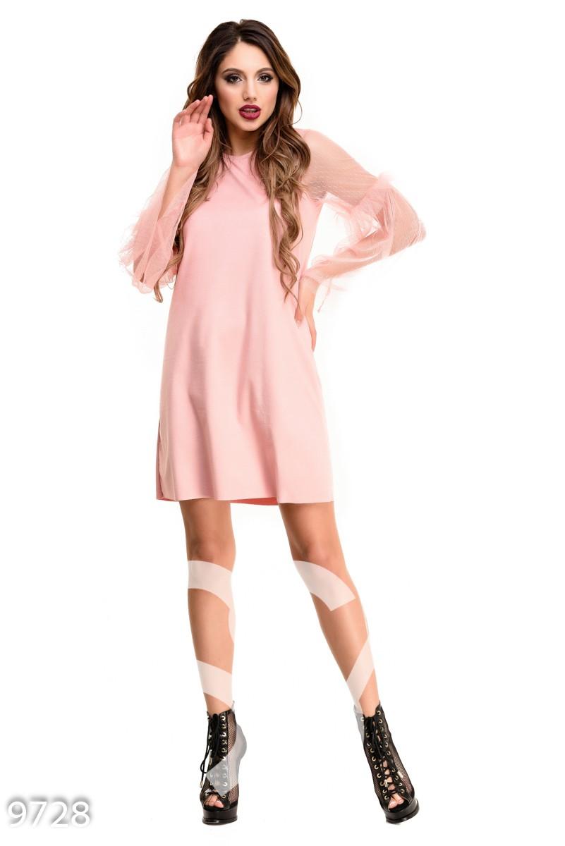Персиковое платье-трапеция с длинными рукавами из фатина