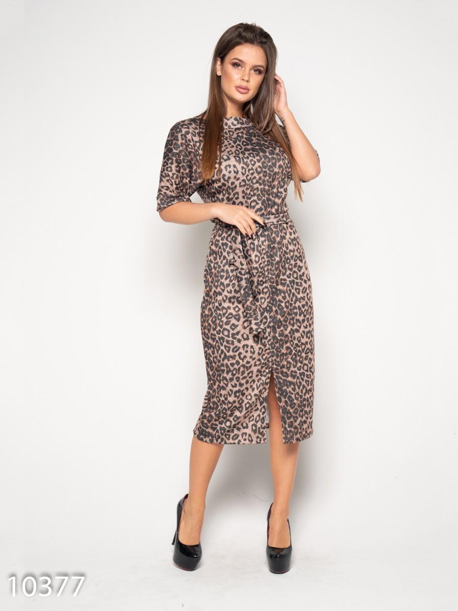 f1c9780dc1f Коричневое с леопардовым принтом платье миди длины  471 грн. фото 2 ...