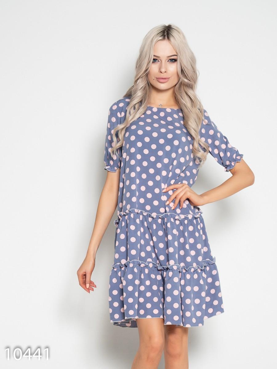 57265b97992 Серо-розовое свободное платье в горошек с воланами  322 грн. фото 2 ...