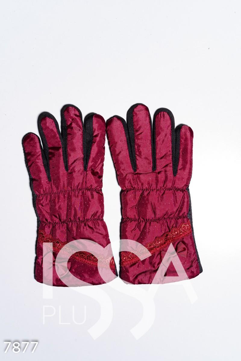 Бордовые теплые перчатки с антискользящим покрытием