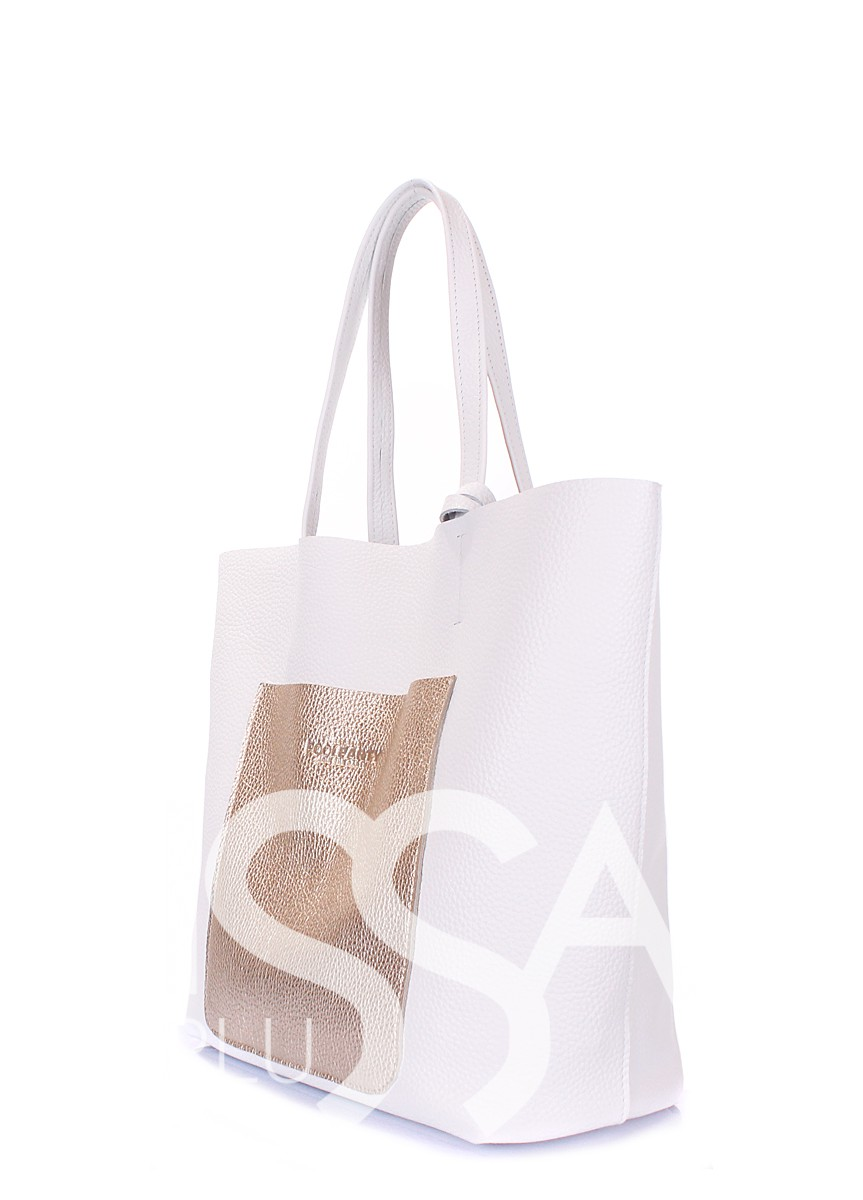 Белая сумка Mania с оригинальным кармашком из натуральной кожи