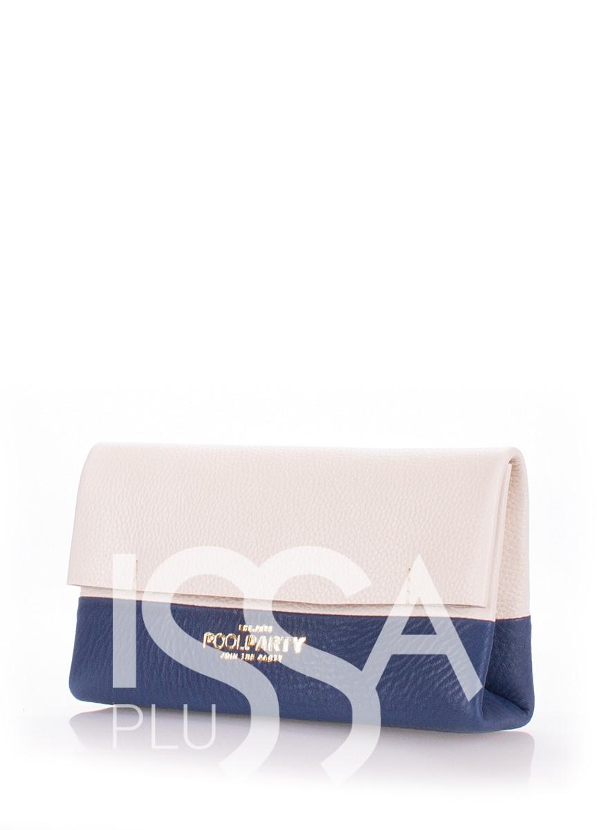 Кожаная синяя косметичка-клатч 2NITE