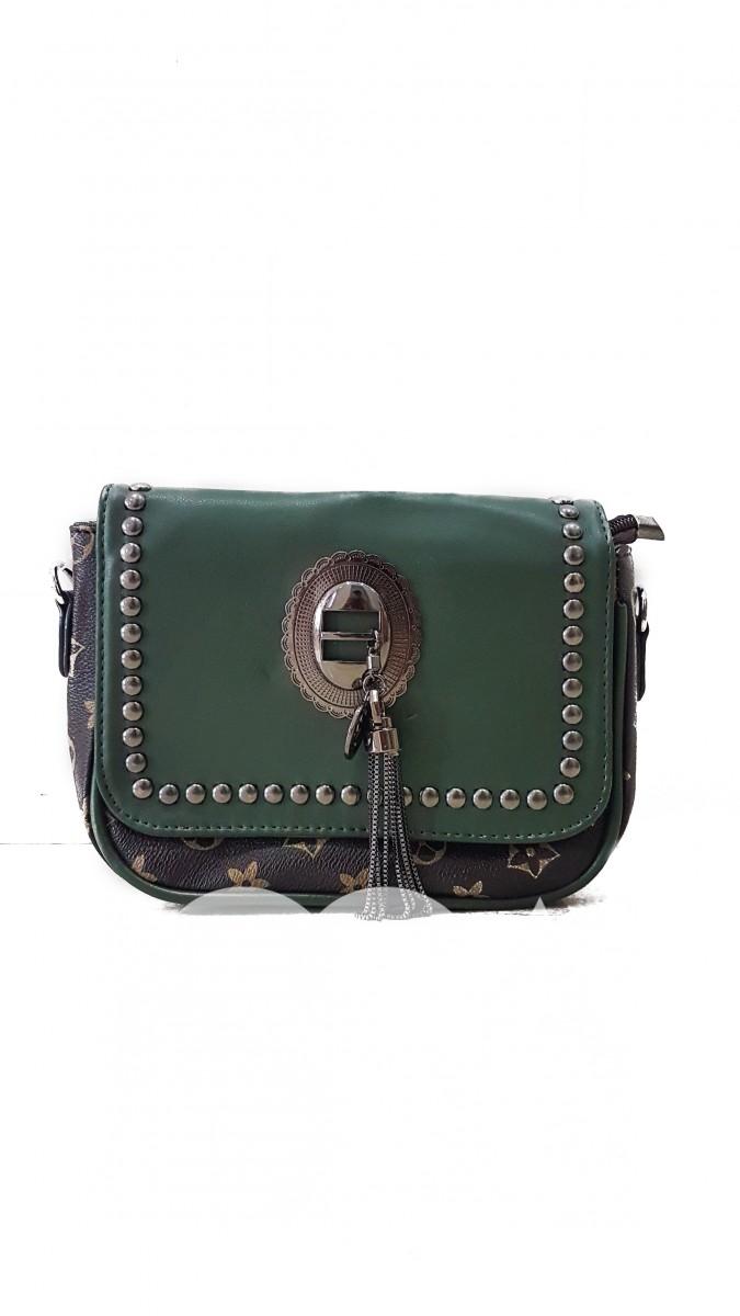 Зеленый комбинированный клатч из эко-кожи с фурнитурой под черненое серебро
