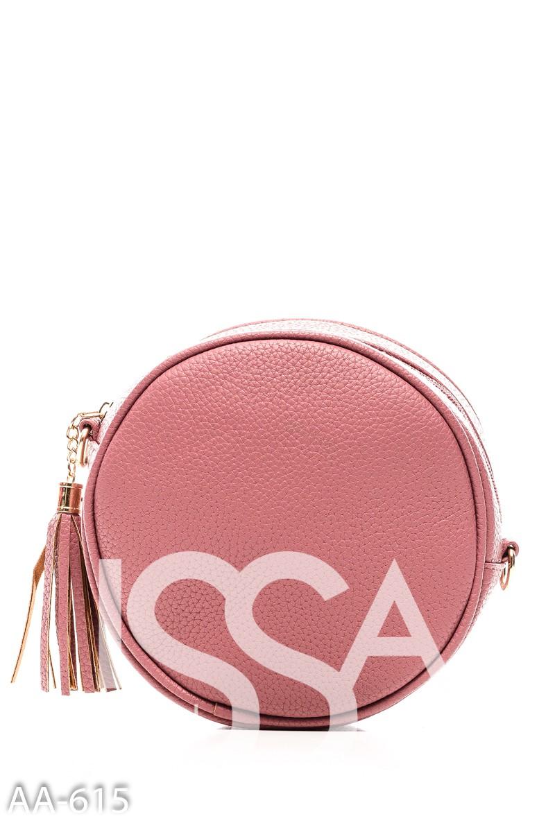 Розовая простеганная сумочка круглой формы с кистью на молнии
