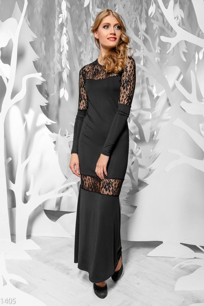 Платье с вставками на рукавах