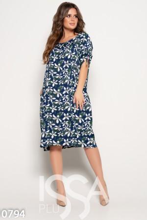 e13d20836a8 Синее свободное платье с тесемками на коротких рукавах