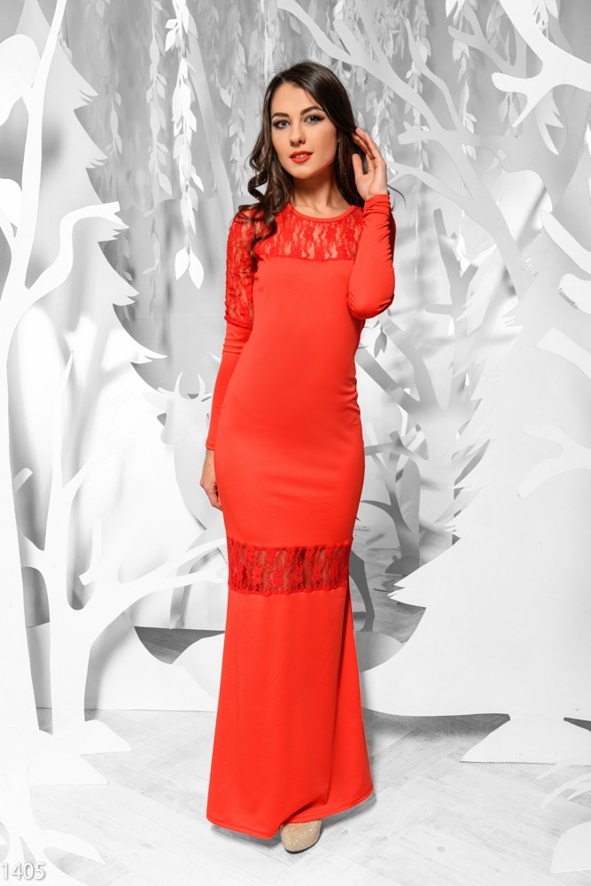 Купить красное платье в пол с рукавами
