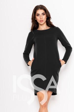 83dda07ae63c Темно-серое однотонное платье из трикотажа на флисе с карманами и длинными  рукавами
