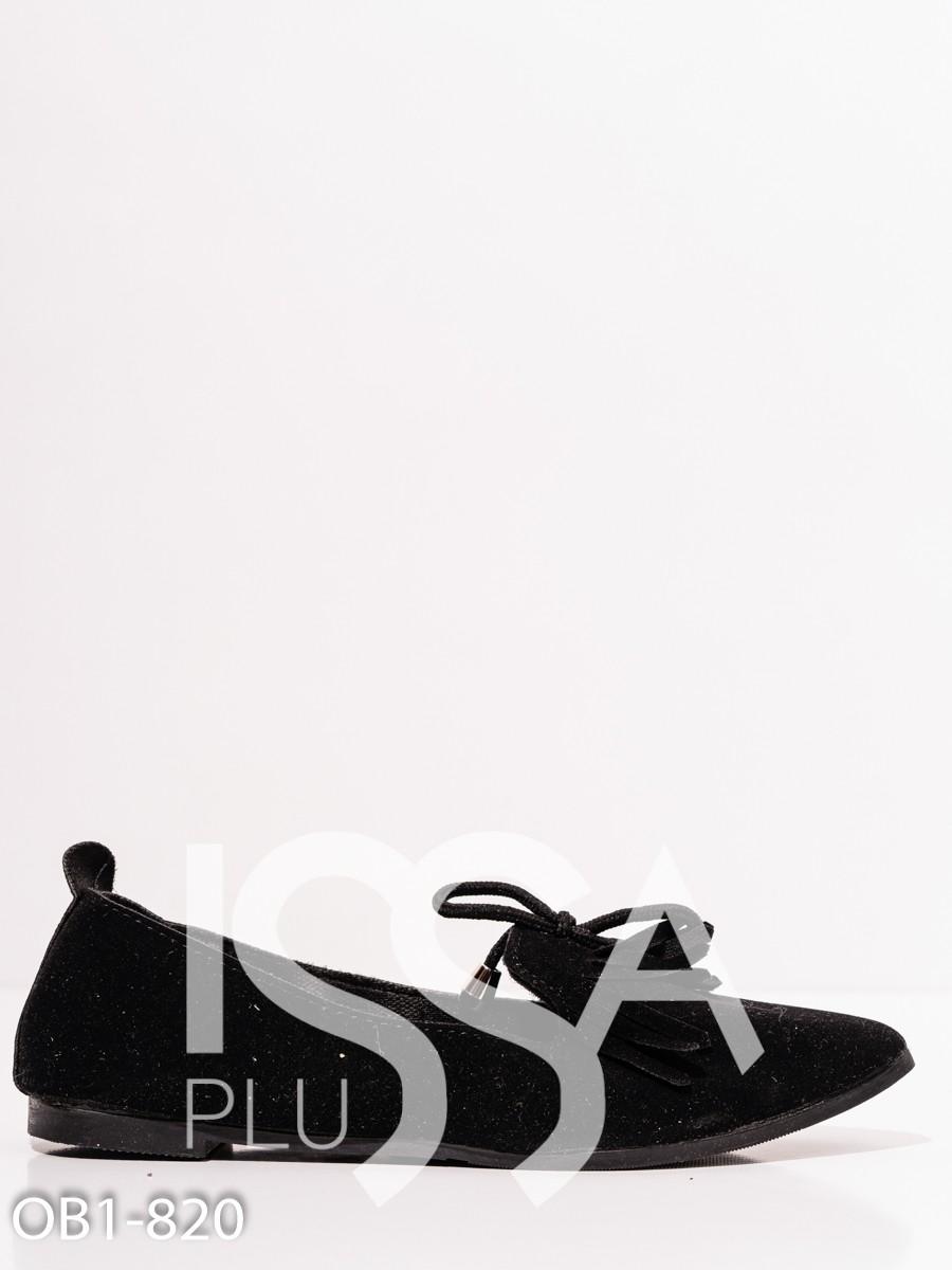 Черные замшевые туфли с бахромой и бантиками