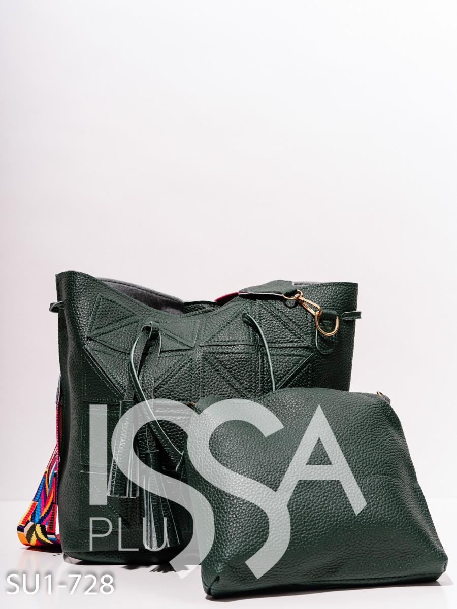 Зеленая сумка-мешок с треугольными нашивками
