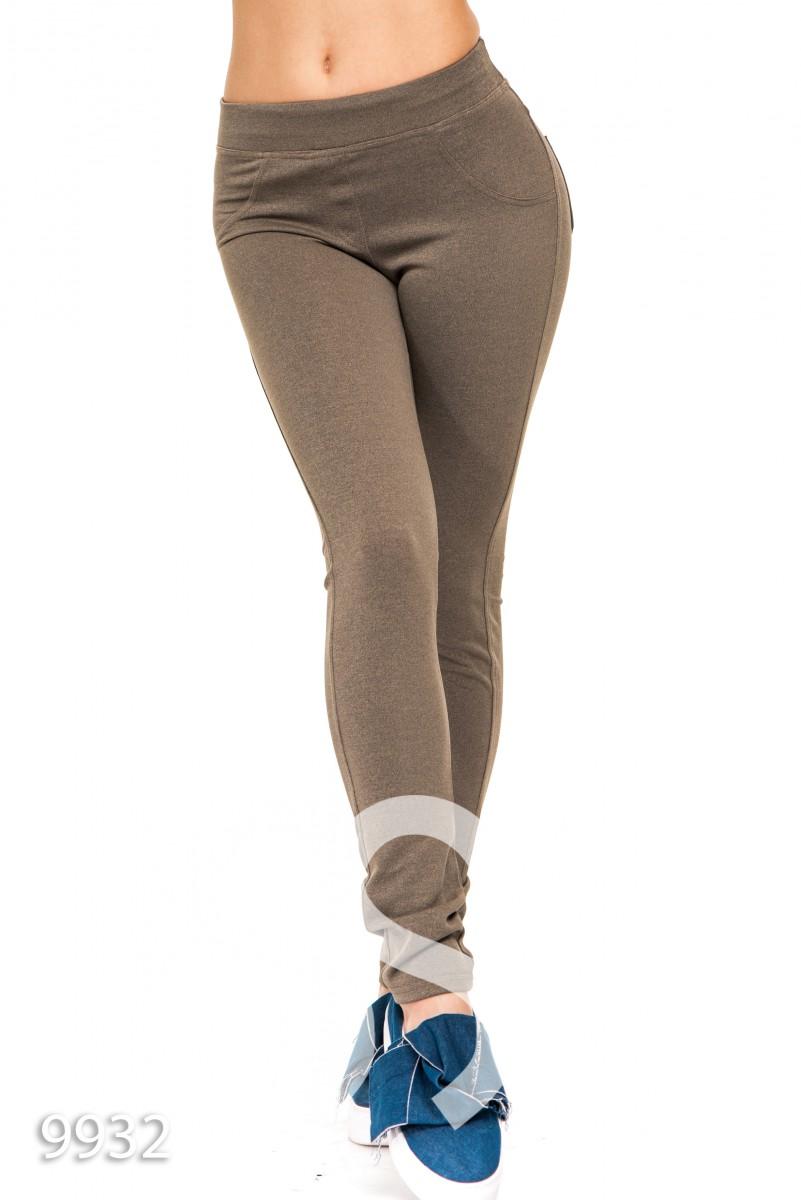 Облегающие плотные джеггинсы светло-коричневого цвета