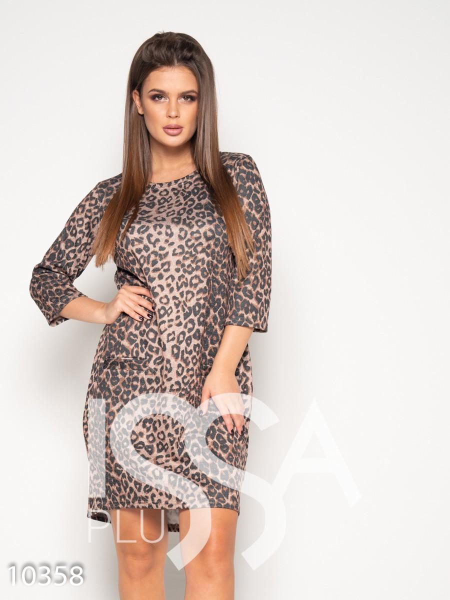 Платье с анималистическим принтом и карманами