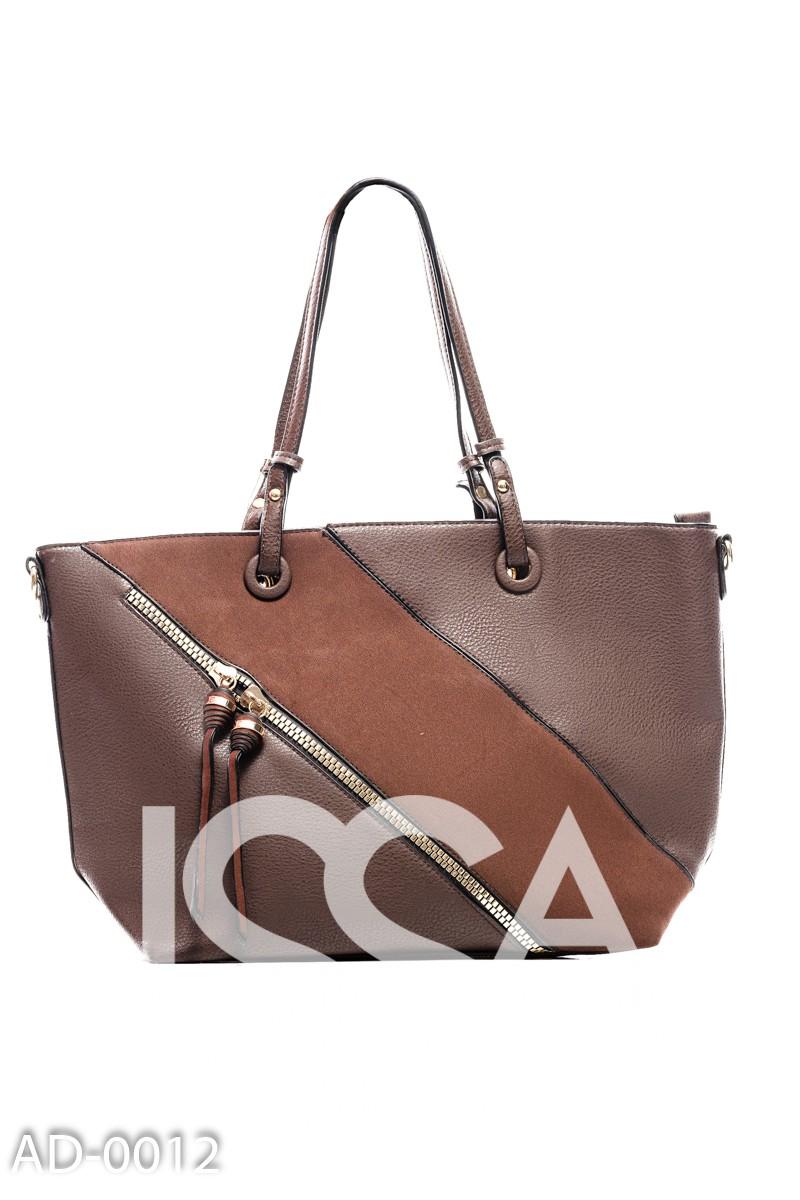 Темно-коричневая комбинированная сумка из эко-кожи с молниями
