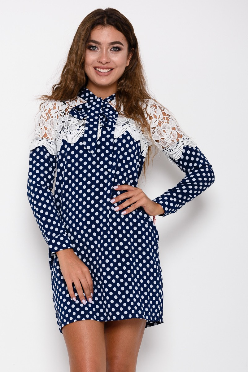 e27ed79760f Синее платье в горошек декорированное ажурным белым кружевом  248 грн. фото  2 ...