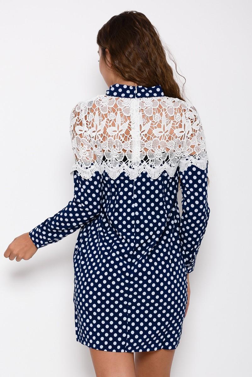f26f59b5019 ... Синее платье в горошек декорированное ажурным белым кружевом  248 грн.  фото 4
