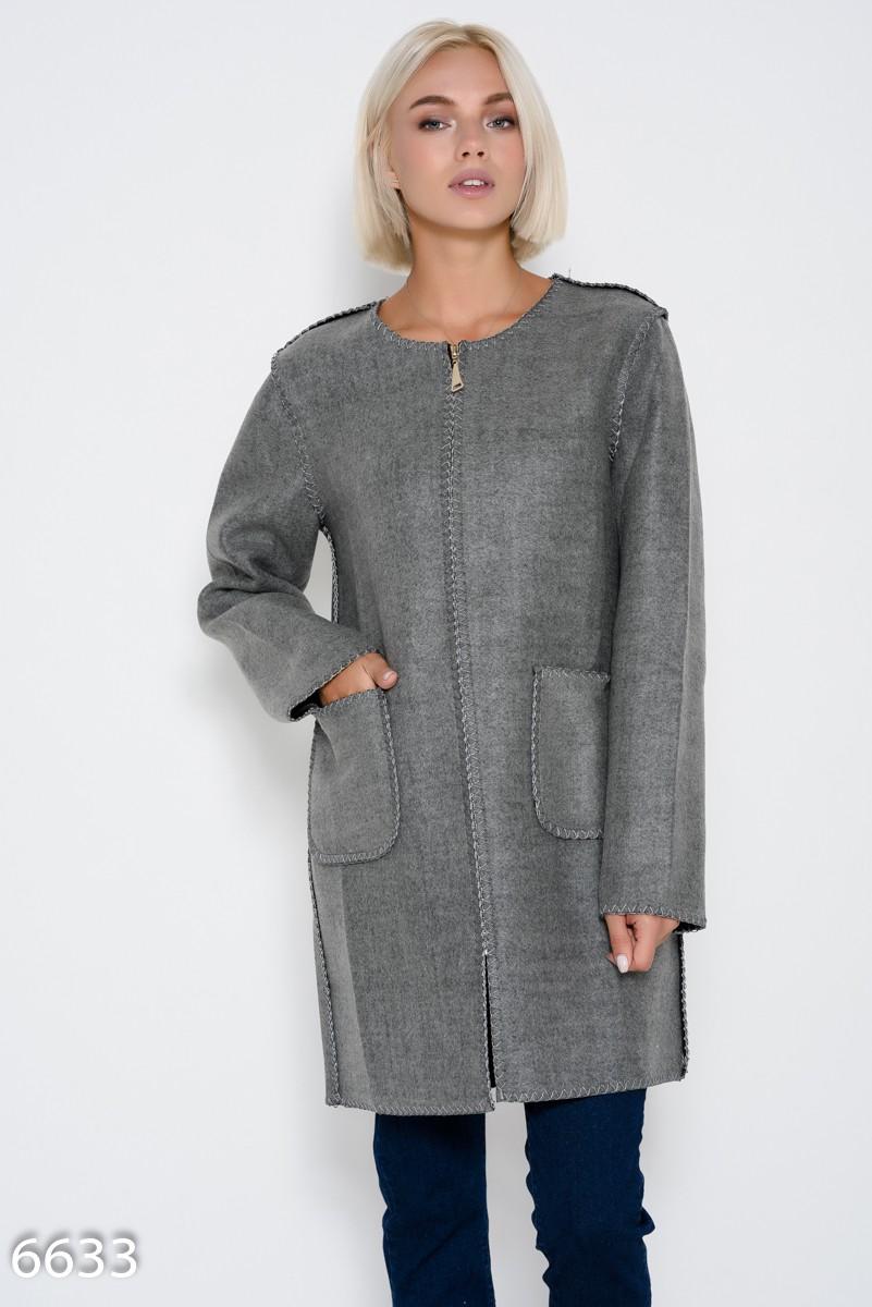 500ac0d0eca Серое демисезонное пальто на молнии с накладными карманами  807 грн. фото 2  ...