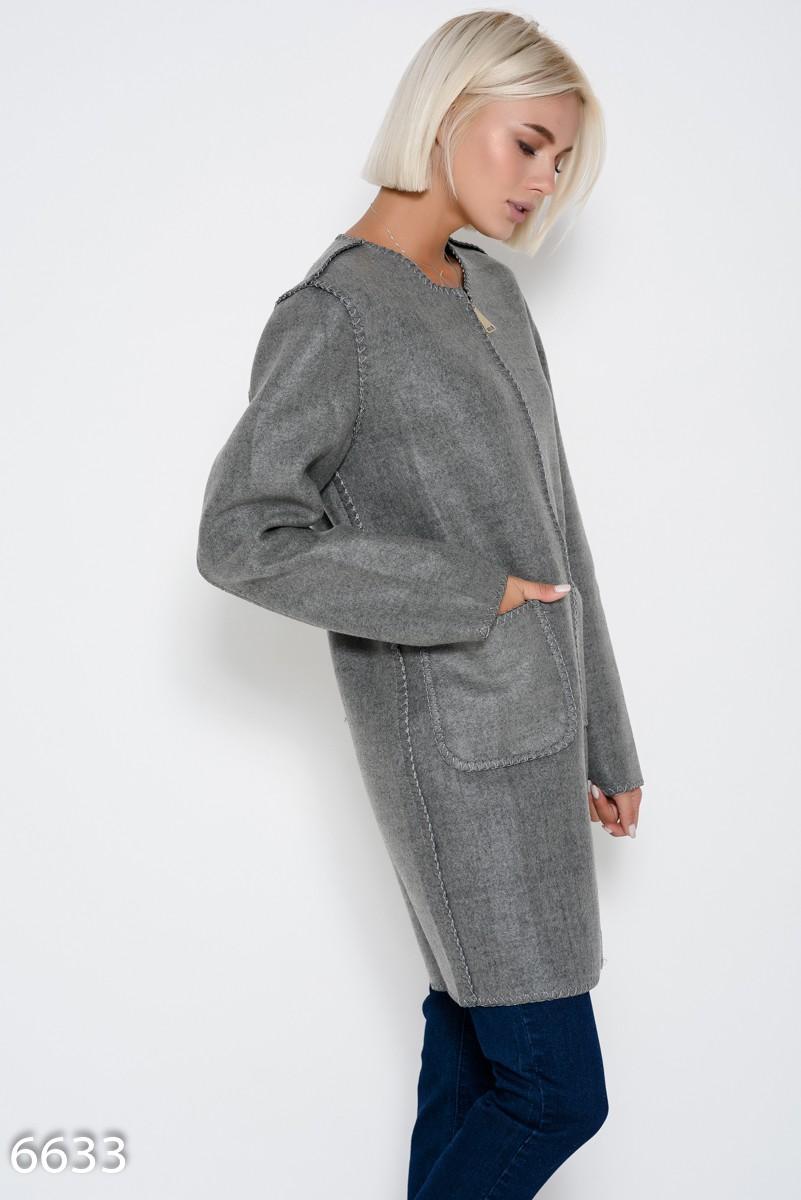 de8ded7c2f9 ... Серое демисезонное пальто на молнии с накладными карманами  807 грн.  фото 3 ...