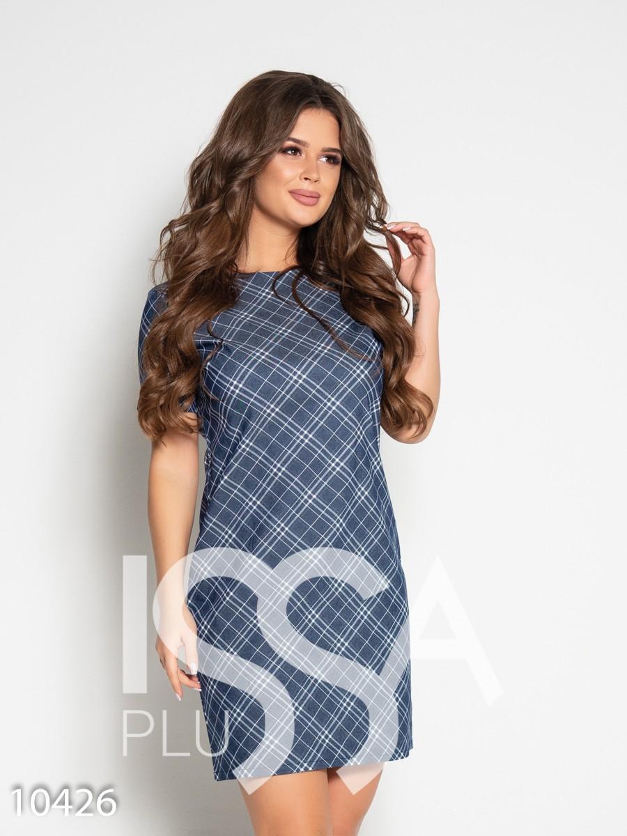 Джинсовое клетчатое платье с открытой спиной