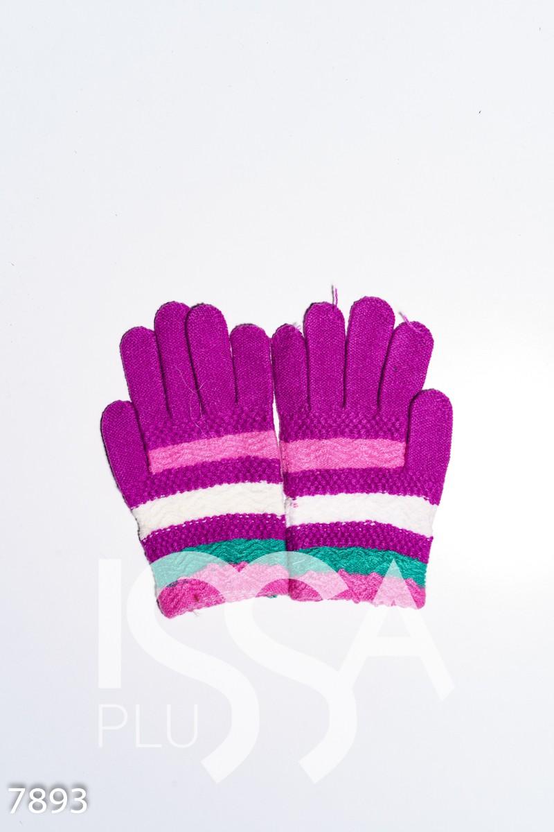 Цветные вязаные шерстяные полосатые перчатки