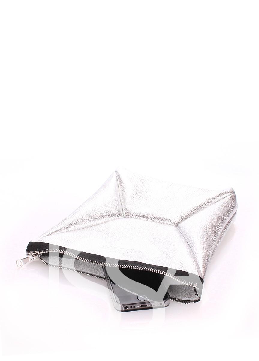 Кожаная серебристая косметичка-клатч THE X