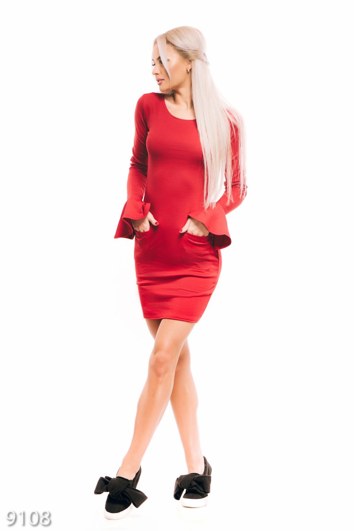 b0da32c33ce ... Красное облегающее платье с карманами и воланом на рукавах  189 грн.  фото 3 ...